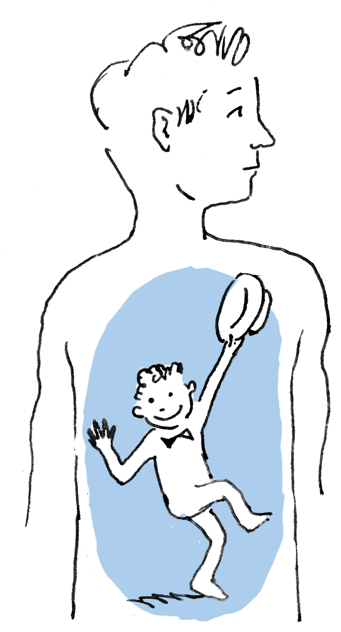 Illustratie innerlijk dansend mannetje