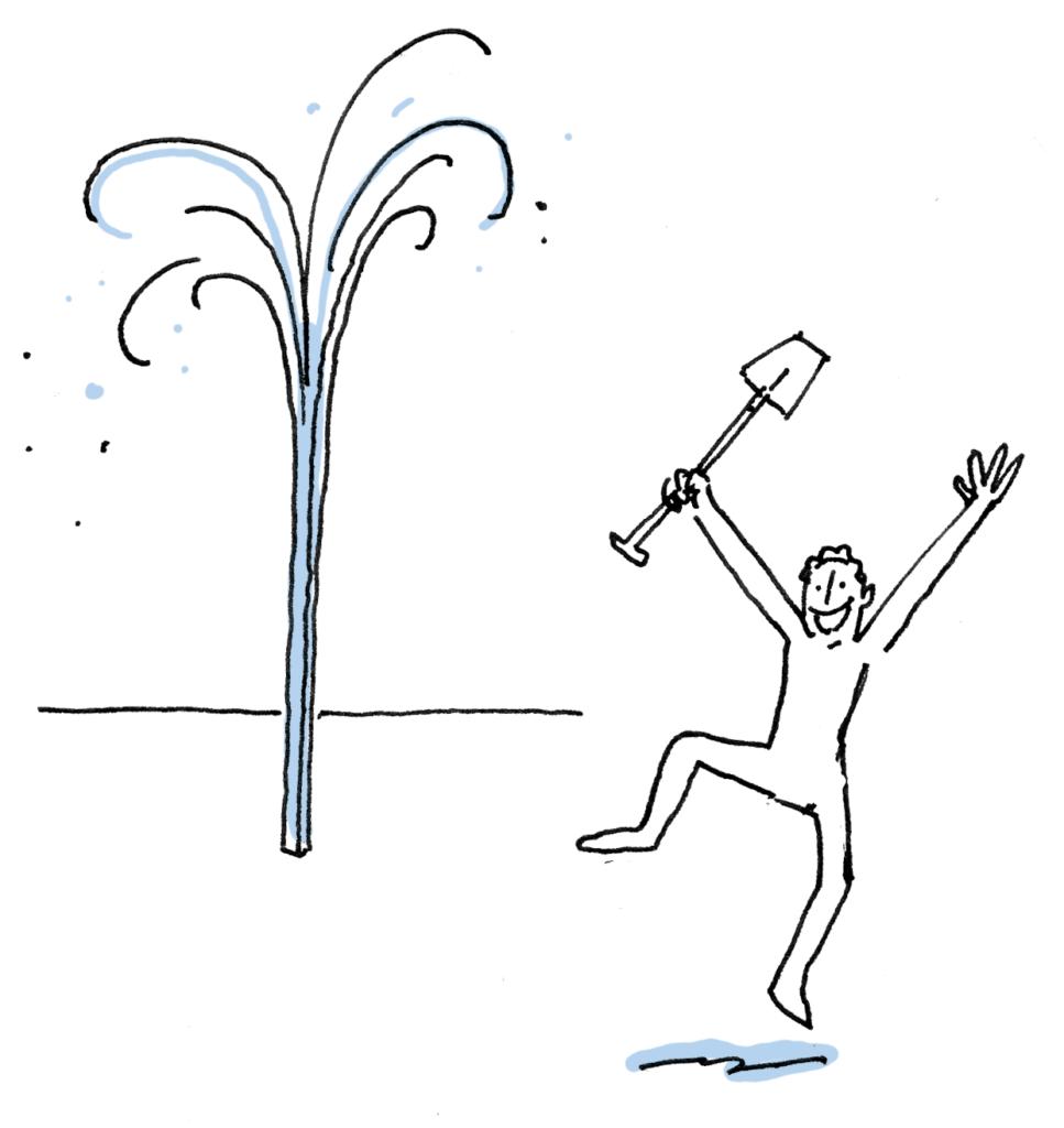 illustratie van dansend mannetje met schep en spuitende bron