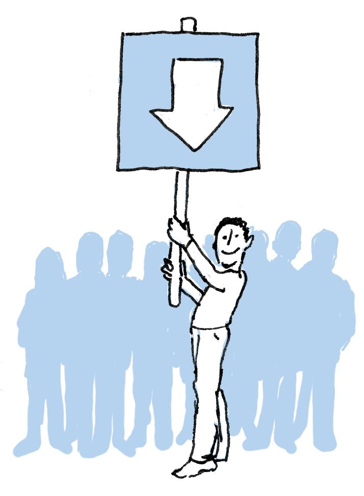 illustratie met mannetje met bord in handen met pijl die naar hemzelf wijst