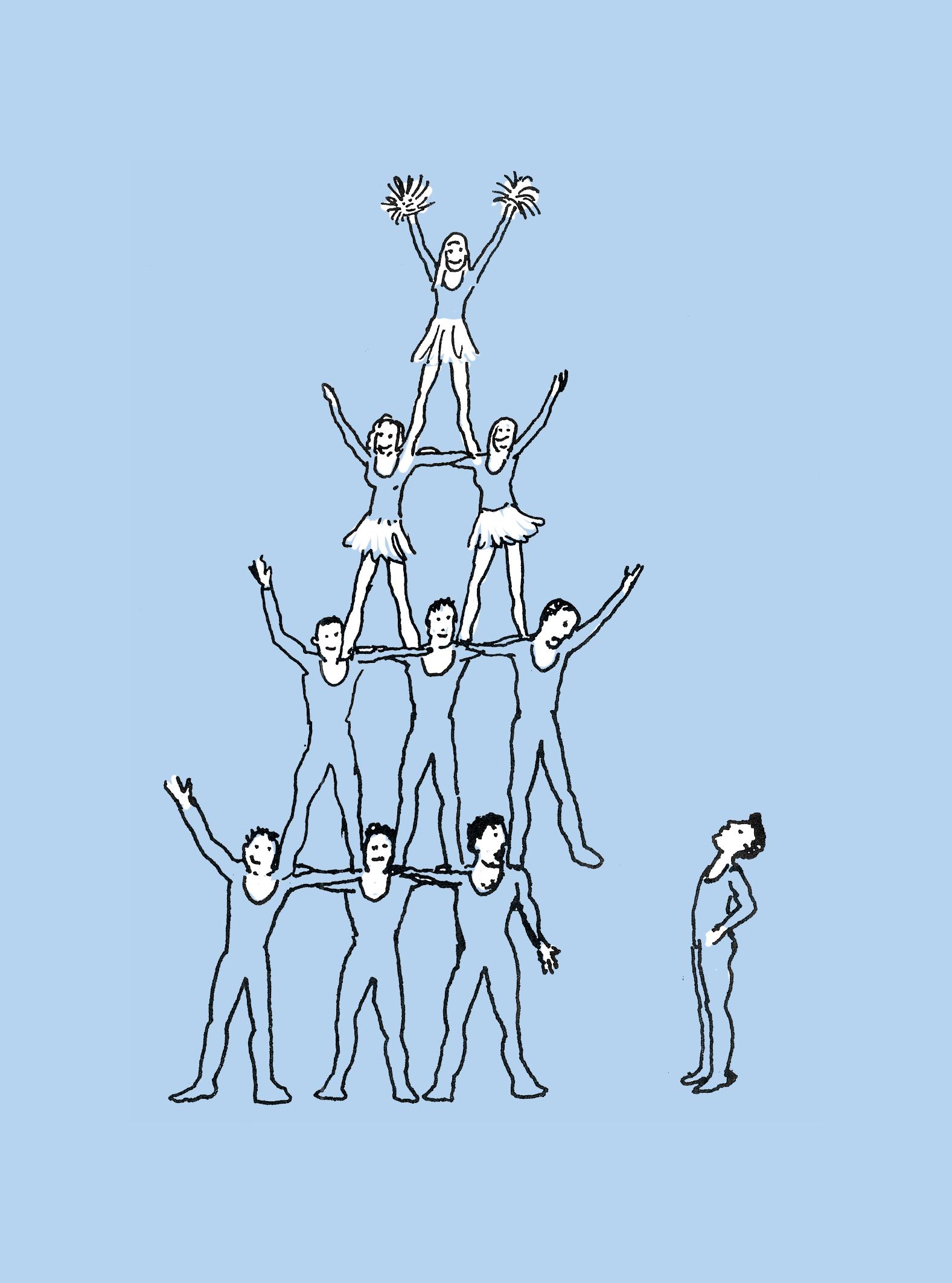 Illustratie menselijke toren, één man stapt ernaast