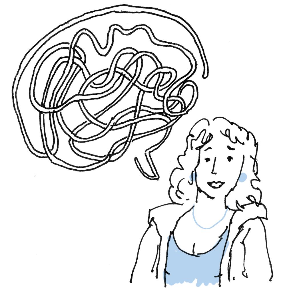illustratie van vrouwtje met spreekwolk, op zoek naar eigen taal