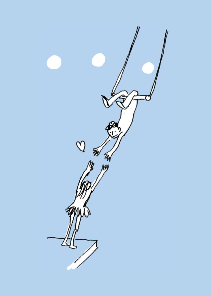 illustratie man aan trapeze die vrouw de handen aanreikt