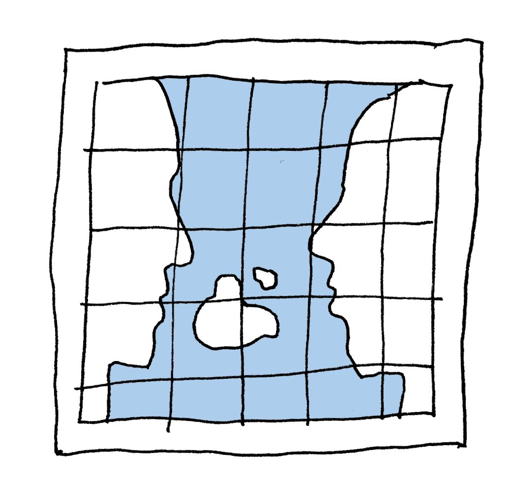 illustratie landkaart in vorm van twee gezichten tegenover elkaar