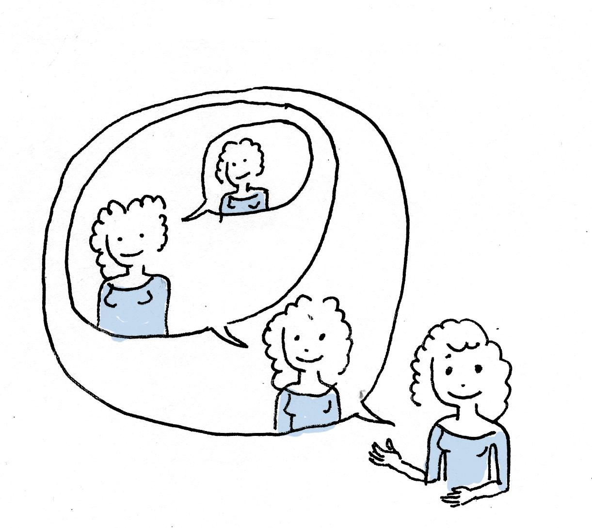 Illustratie vrouw met spreekwolkjes met eigen vocabulair