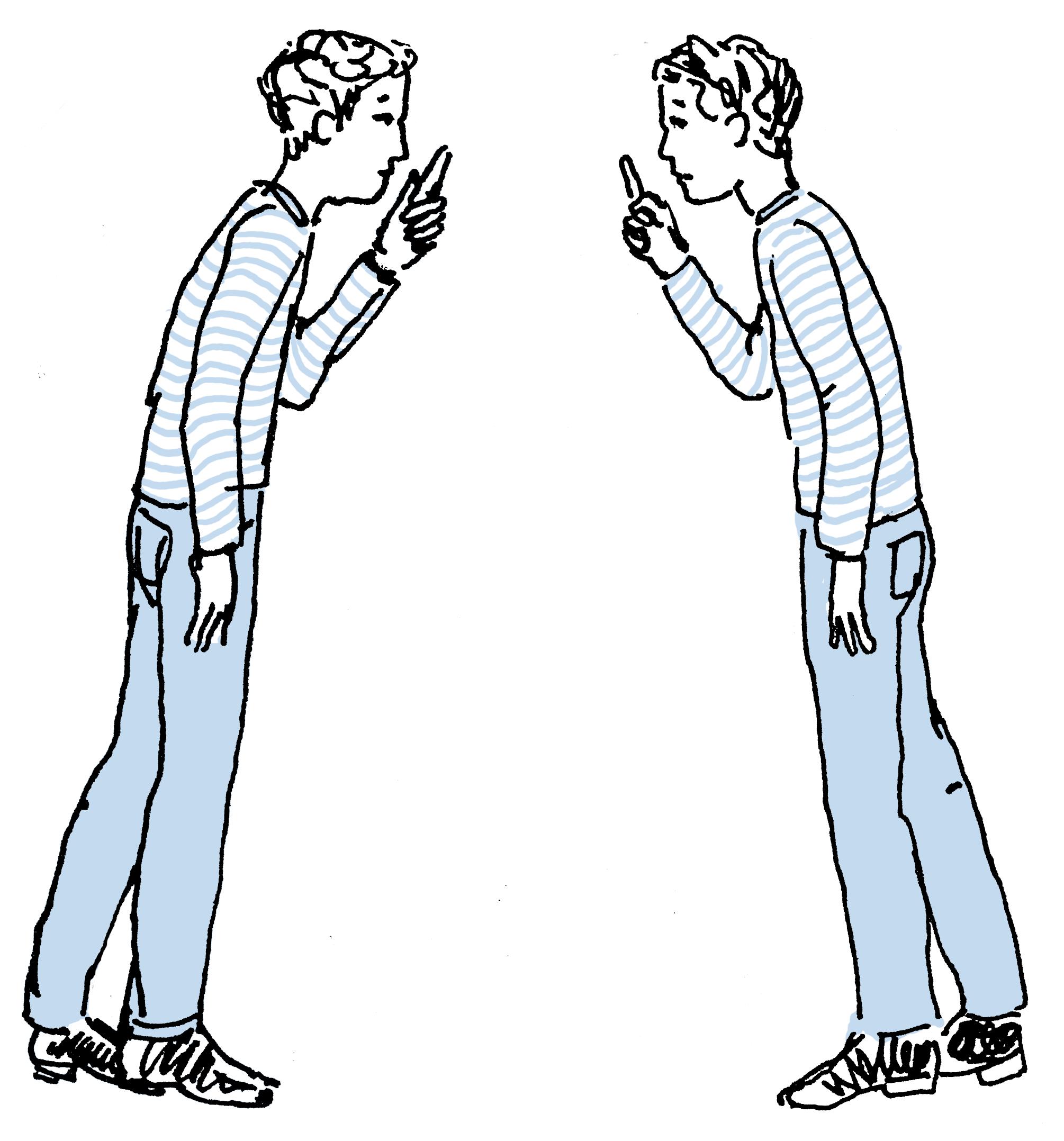 Illustratie twee gespiegelde mannetjes in gesprek